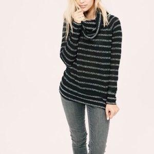 Lou & Grey   Black Striped Cowl Neck Sweater L0355